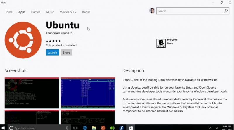 ubuntu in windows store